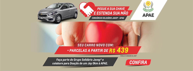 Banner Consórcio Socildário APAE parcelas a partir de R$ 439,00 20 junho 2021