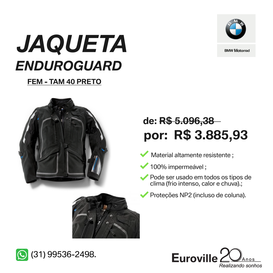 JAQUETA ENDUROGUARD FEMININA PRETA TAMANHO 40