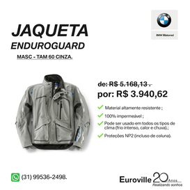 JAQUETA ENDUROGUARD MASCULINA CINZA TAMANHO 60