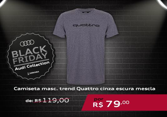 galeria Camiseta Masculina Trend Quattro Cinza Escura Mescla