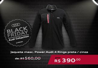 Jaqueta Masculina Power Audi 4 Rings Preta / Cinza
