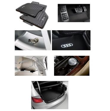 galeria Kit Confort Audi A3 (Jg de Tapetes, Jg de Pedaleira, Capa de Válvula, Audi Beam, Cabide, Cinzeiro e Protetor do Porta Malas)