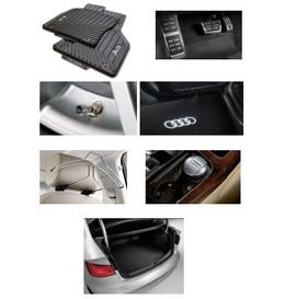 Kit Confort Audi A3 (Jg de Tapetes, Jg de Pedaleira, Capa de Válvula, Audi Beam, Cabide, Cinzeiro e Protetor do Porta Malas)