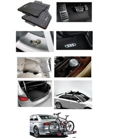 Kit Sport Audi A3 (Jg de Tapetes, Jg de Pedaleira, Capa de Válvula, Audi Beam, Cabide, Cinzeiro, Protetor do Porta Malas, Rack de Teto e Suporte de Bike)
