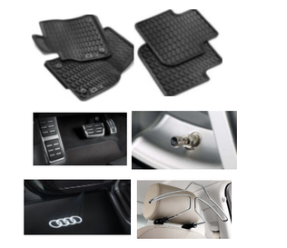 Kit Essencial Audi Q3 Jg de Tapetes, Jg de Pedaleira, Capa de Válvula, Audi Beam e Cabide)