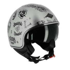 Capacete Astone Minijet 66 Flash Tattoo Silver