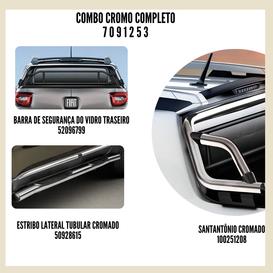 COMBO COMPLETO TORO:BARRA SEGURANÇA VIDRO TRASEIRO / SANTANTÔNIO CROMADO / ESTRIBO LATERAL TUBULAR CROMADO