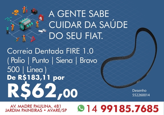 CORREIA DENTADA (FIRE 1.0) PALIO / PUNTO / SIENA / BRAVO / 500 / LINEA