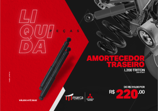 AMORTECEDOR TRASEIRO L200 TRITON 2007 A 2017