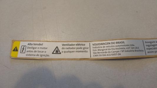 Etiqueta Frontal Motor Vw Gol Saveiro Voyage 5U0010795A