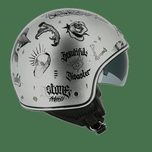 galeria Capacete Astone Minijet 66 Flash Tattoo Silver