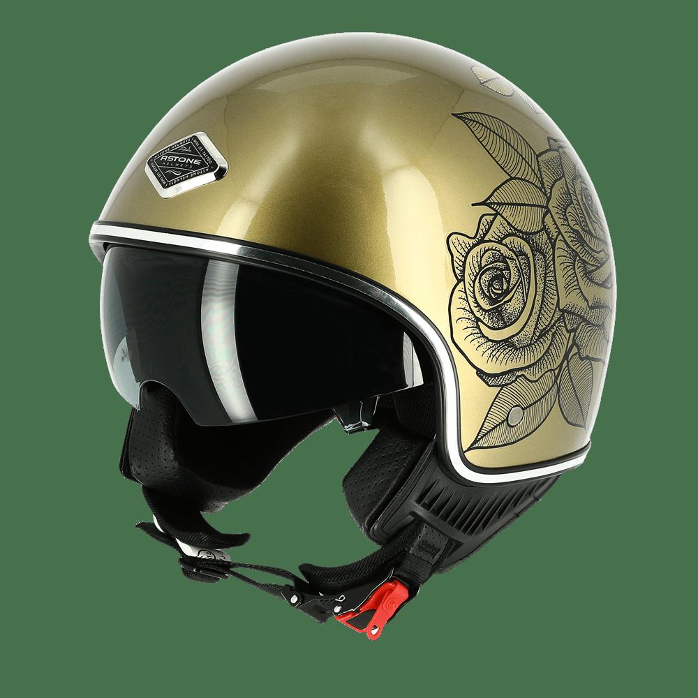 galeria Capacete Astone Minijet 66 Graphic Roses Gold